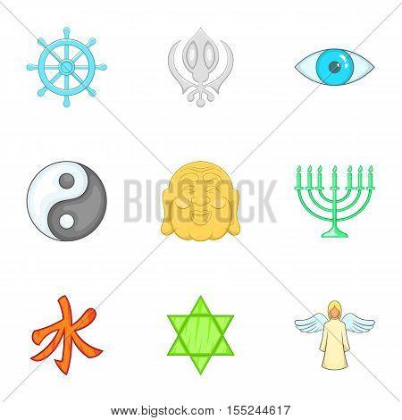 Faith icons set. Cartoon illustration of 9 faith vector icons for web