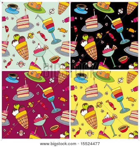 Sweets pattern set. Drawn by hand. To see similar illustrations, please visit my gallery
