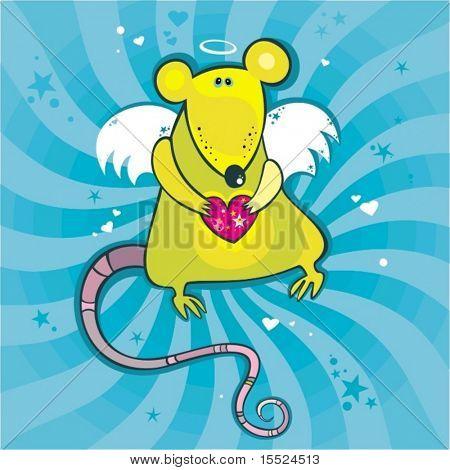 Angel cupid rat card. To see similar, please VISIT MY GALLERY.