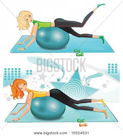 Sexy woman exercising with a pilates ball.  To see similar, please VISIT MY GALLERY.