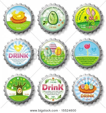 Easter bottle caps- vector buttons. To see similar, please VISIT MY GALLERY.