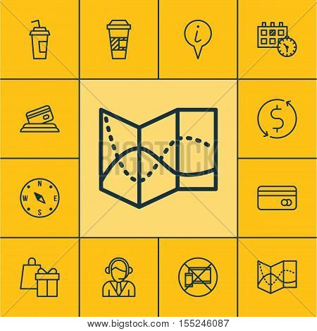 Set Of Transportation Icons On Locate, Plastic Card And Shopping Topics. Editable Vector Illustratio