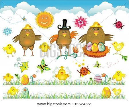 Easter cute set of design elements. To see similar, please VISIT MY GALLERY.