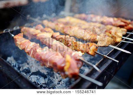 Chicken Kabobs Grilled On Metal Skewers