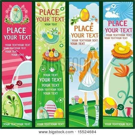 Cute Vertical Easter banners. To see similar, please VISIT MY GALLERY.