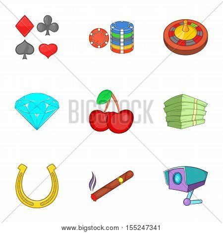 Gambling icons set. Cartoon illustration of 9 gambling vector icons for web