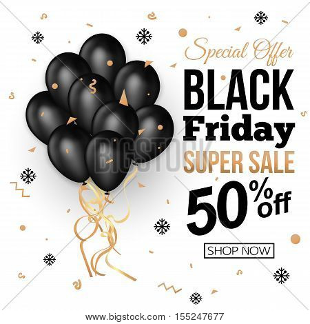 Black Friday Sale Banner Template with Black Balloons . Vector illustration eps10 format.