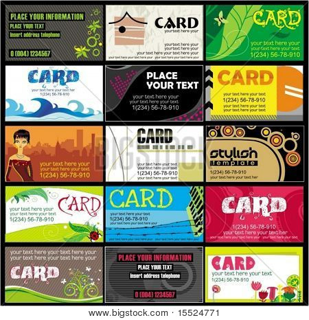 15 colorful business cards - vector set.  To see similar, please VISIT MY PORTFOLIO