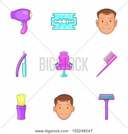 Hairstyle icons set. Cartoon illustration of 9 hairstyle vector icons for web