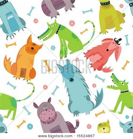 Seamless Funny vector dogs. To see similar, please VISIT MY PORTFOLIO