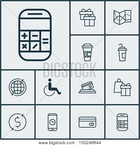 Set Of Transportation Icons On Credit Card, Shopping And Calculation Topics. Editable Vector Illustr