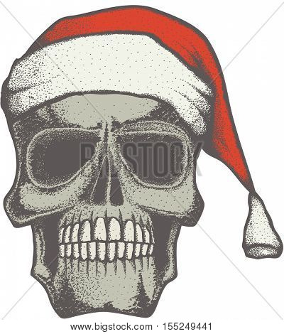 Vector Christmas skull illustration. Hand drawn. Spooky and scary halloween skull