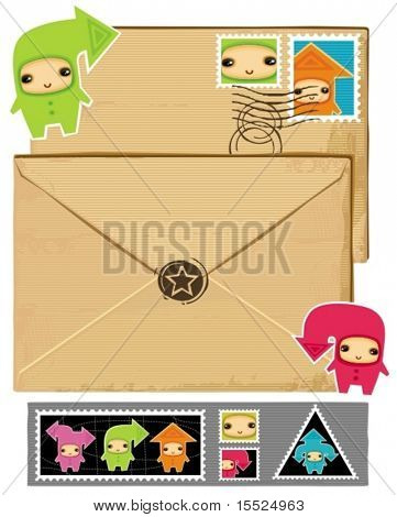 Funny envelope and stamps.  To see similar, please VISIT MY PORTFOLIO