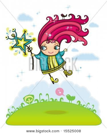 Sweet fairy and glittering star. To see similar, please VISIT MY PORTFOLIO