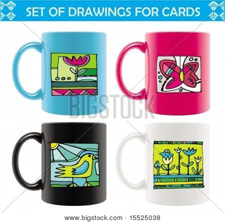 Six colored mugs  with  abstract summer drawings. To see similar, please VISIT MY PORTFOLIO