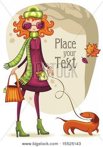Skurrilen shopping Girl mit Dackel im Herbst Park. Um ähnlich zu sehen, bitte besuchen SIE meine PORTFOL