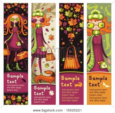 Autumnal vertical banners with fashion girls, shopping bag, dog, umbrella, maple leafs, shoes. With space for your text