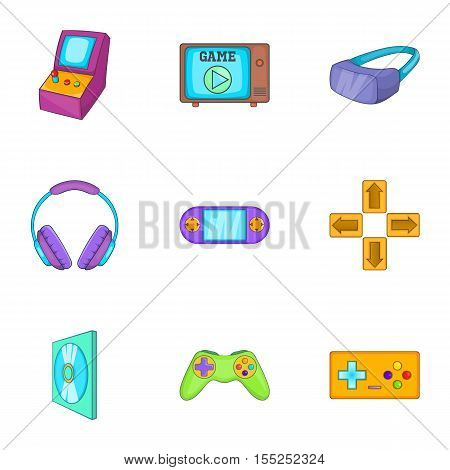 Computer games icons set. Cartoon illustration of 9 computer games vector icons for web
