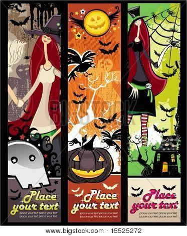 Banners vertical grunge de Halloween con calabaza, zombie, bruja, cráneo, bat, árbol de arañas, raven, gho