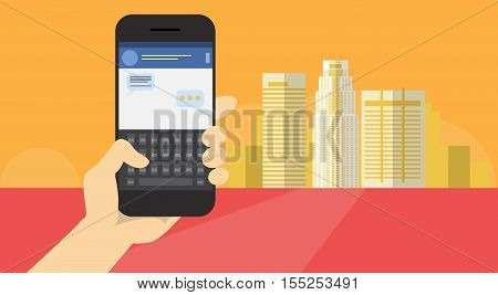 Hand Hold Cell Smart Phone Application Online Message Chat Network Communication Banner Flat Vector Illustration