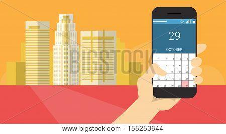 Hand Hold Cell Smart Phone Application Online Calendar Banner Flat Vector Illustration