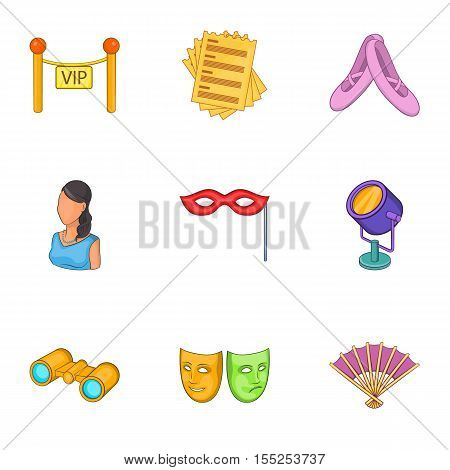 Entertainment in theatre icons set. Cartoon illustration of 9 entertainment in theatre vector icons for web