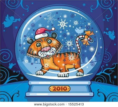 Cute friendly tiger, wearing Santa cap, with candy cane tale. Inside of the snow-dome. 2010 is the Year of the tiger according to the Chinese Zodiac.