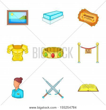 Stay in museum icons set. Cartoon illustration of 9 stay in museum vector icons for web