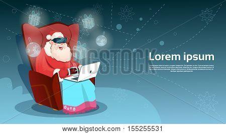 Santa Claus Wear Digital Glasses Virtual Reality Sit Using Laptop Merry Christmas Happy New Year Flat Vector Illustration