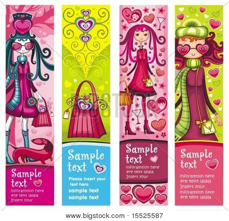 Valentine's Day banners with fashion girls, hearts, shopping bag, dog, lots of Valentine's decorations. With space for your text.