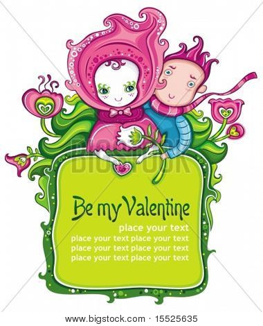 Valentine's day floral frame with cute boy and girl dating. With space for your text.