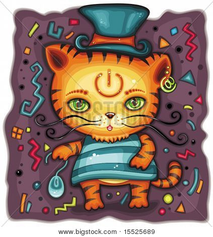 Funny tiger in top hat