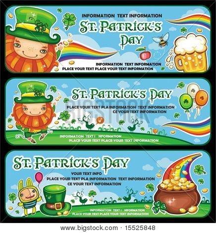 St. Patrick's Day banners with copy space.