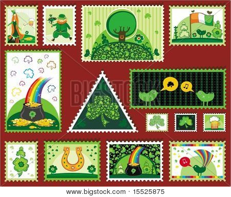 Set of St. Patrick mail's elements (postage, postmark), vector illustration