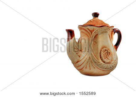 Clay Teapot Isolated