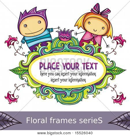Floral curly frame with cute boy and girl (floral series)