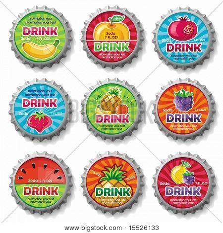 fruchtige Flaschenverschlüsse 3 - Vektor festgelegt.