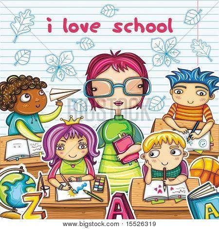 Professor e crianças bonitos na sala de aula.