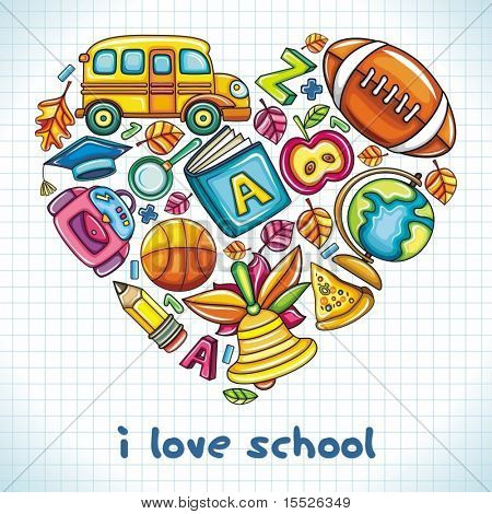 Different types of colorful school icons, combined in a shape of a heart.