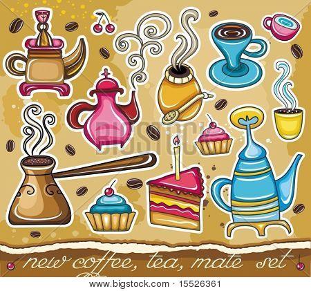 Cartoon collection of cute icons - coffee, tea, yerba theme