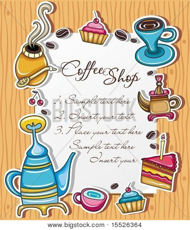 Cute grunge frame with coffee, tea, cake, yerba mate symbols, isolated on wooden background 3.
