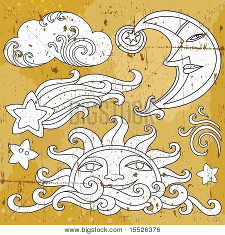 Vector set of Celestial symbols: sun, moon, star, comet, with human faces, and cute cloud.