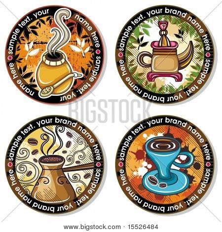 Grunge collection of drink coasters - coffee, tea, yerba theme, isolated on white background 4