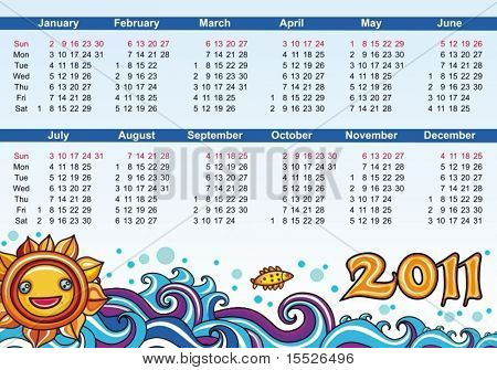 Decorative calendar for 2011 with sum and waves