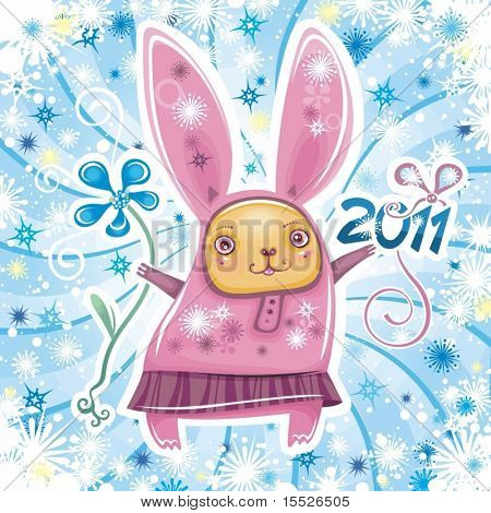 Happy New Year theme: Vector card with cute little rabbit girl celebrating New Year, holding flower and 2011 sign. Swirl background with snowflakes.