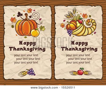 Beautiful Holiday paper arrangements with the space for your own text  on the wooden background. Horn of Plenty, pumpkin, apple, autumn leaves, grapes, apple, pear.