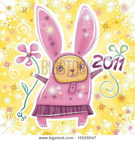 Vector card with cute little rabbit girl celebrating New Year, holding flower and 2011 sign. Swirl background with snowflakes.