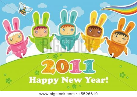 Vector greeting card: cute little babies dressed as Bunnies. Rabbit is a symbol of 2011.