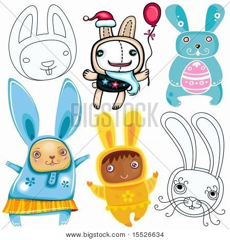 Vector-Set von verschiedenen niedlichen Kaninchen. Kaninchen, ein Symbol für 2011 nach dem chinesischen Kalender