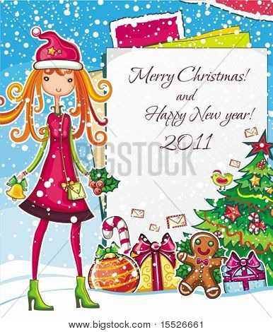 Christmas shopping theme: vector illustration of a pretty girl with Xmas bell, standing near the blank message board. lots of holiday decorations ornaments, patterns. space for your text.